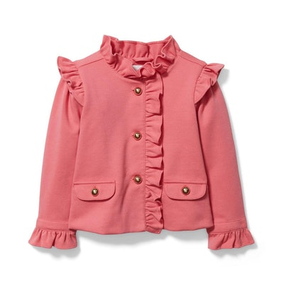 Girl Desert Rose Ruffle Ponte Jacket