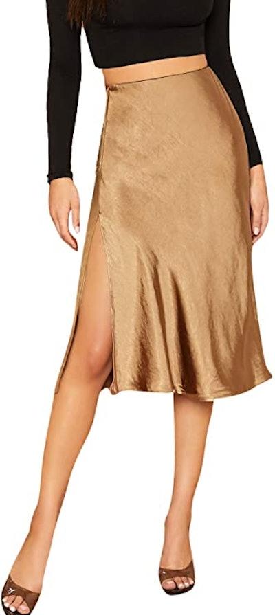 SheIn Satin Mid Waist Midi Skirt