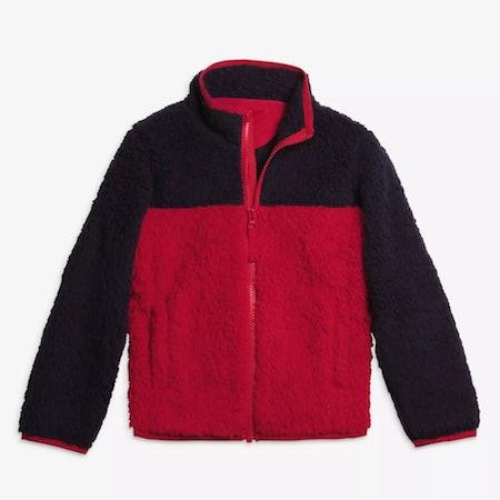 Cozy Fleece Jacket in Cherry/Navy