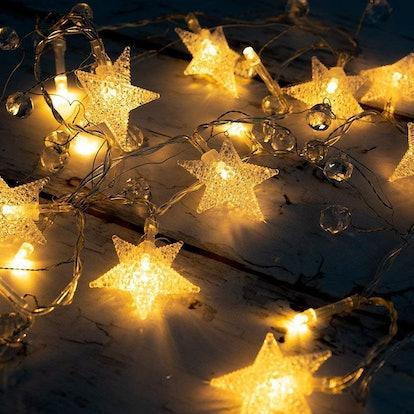 5 Feet 20 LED String Fairy Light w/Acrylic Stars and Beads