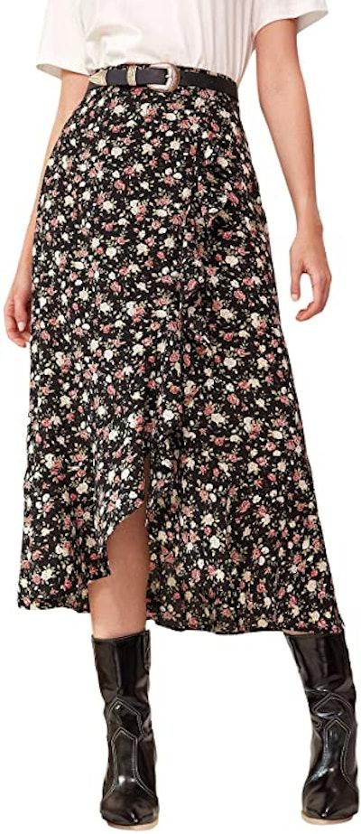 WDIRARA Flowy Floral Boho Long Skirt