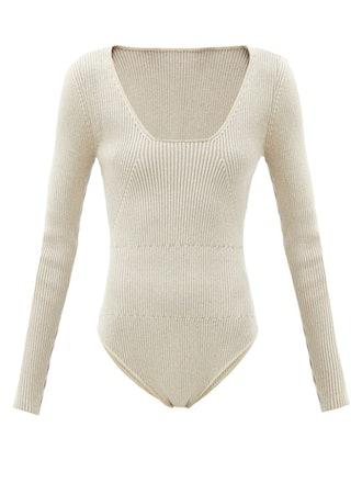 Adour Scoop-Neck Ribbed-Knit Bodysuit
