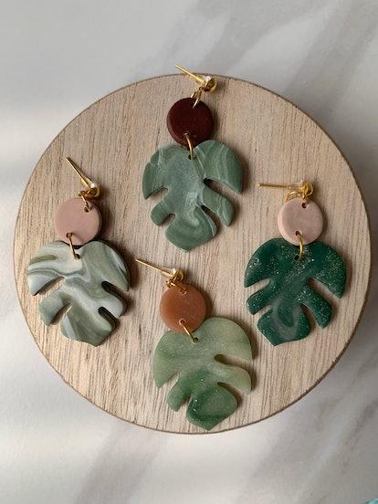 CraftedByLeah Monstera Leaf Earrings