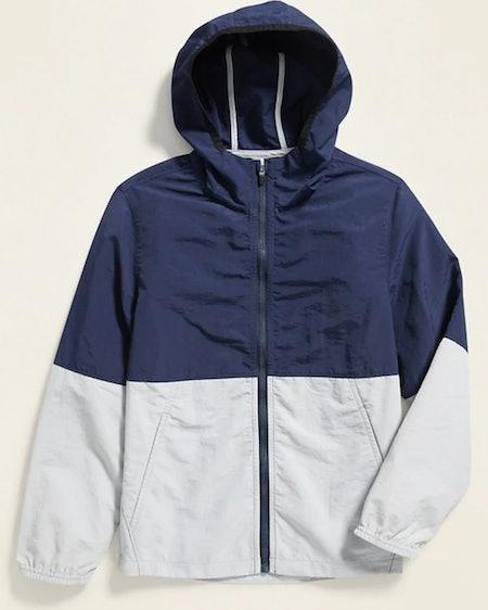 Color-Blocked Nylon Hooded Zip Jacket in Lost at Sea Navy
