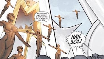 Semuanya segera untuk Mithraian.  Perhatikan patung di atas balkon.