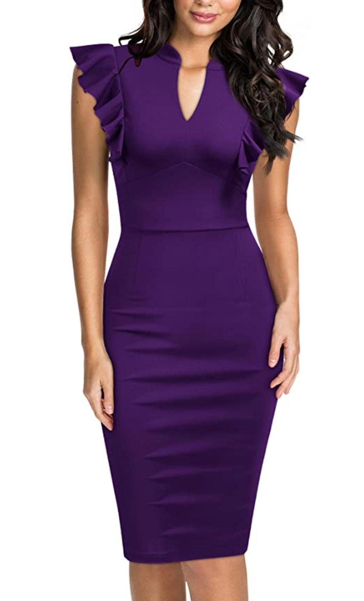 Knitee Purple V-Neck Bodycon Evening Dress