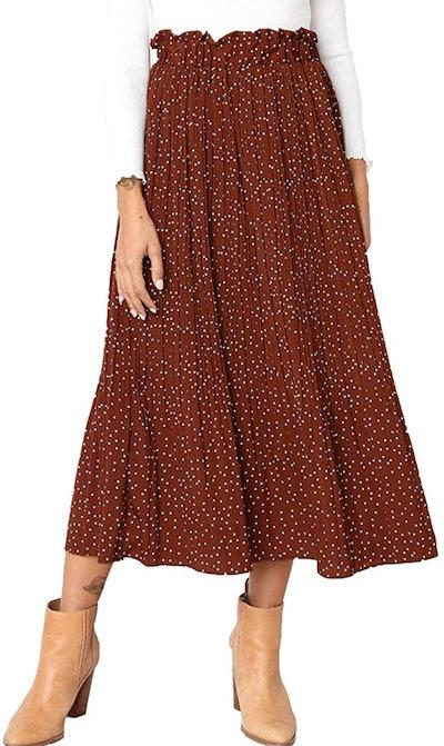 Exlura Womens High Waist Polka Dot Pleated Skirt With Pockets