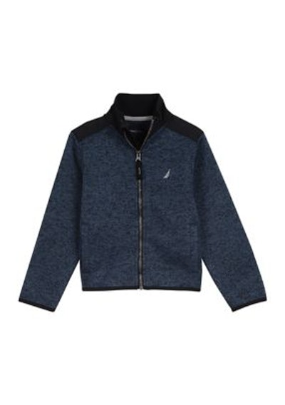 Nautica Boys 4-7 Micah Sweater Fleece Jacket in Sport Navy