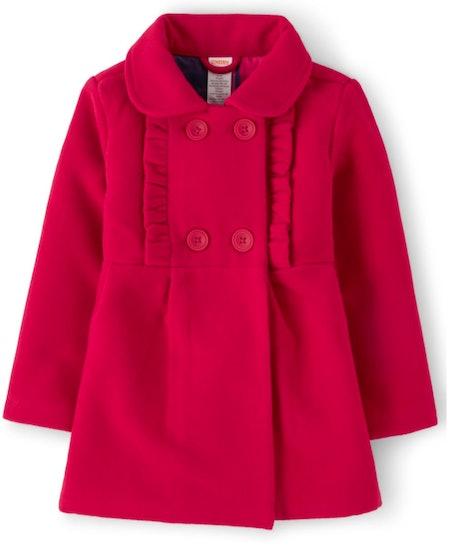 Girls Long Sleeve Ruffle Jacket - Candy Apple