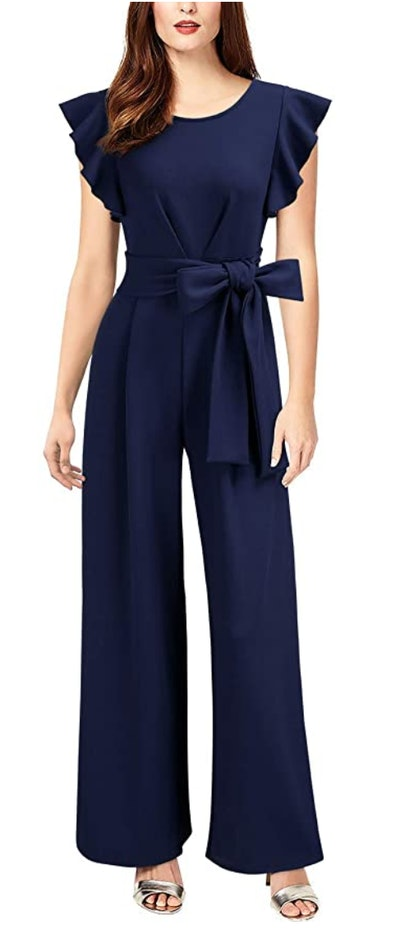 Knitee Navy Blue Vintage Sleeveless Wide Leg Jumpsuit