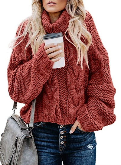 ZKESS Chunky Knit Turtleneck Sweater