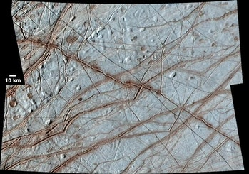 Europa's surface, which features a wide-ranging network of cracks, ridges, and bands.