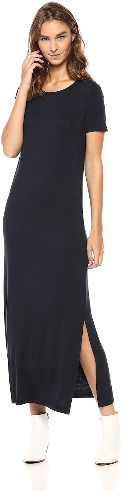 Daily Ritual Jersey Crewneck Short Sleeve Maxi Dress with Side Slit