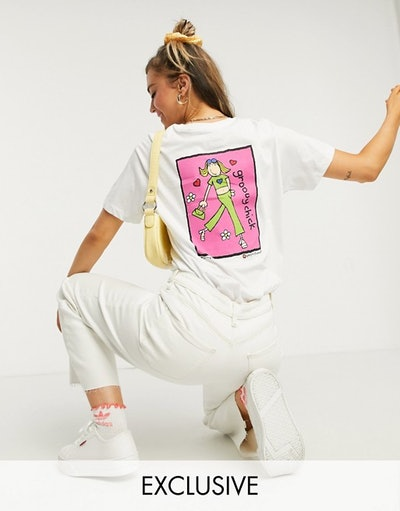 Daisy Street relaxed t-shirt with groovy chick back print