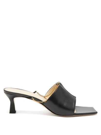 Isa Chain-Embellished Leather Mules