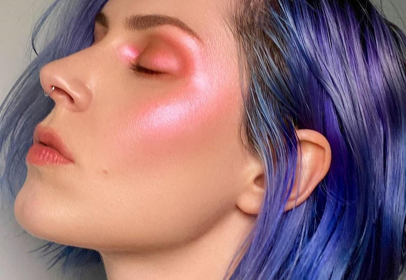 Rituel de Fille's The Dream Metamorphic Highlighter swatched on model.