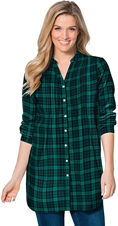 Woman Within Plus Size Flannel Blouse