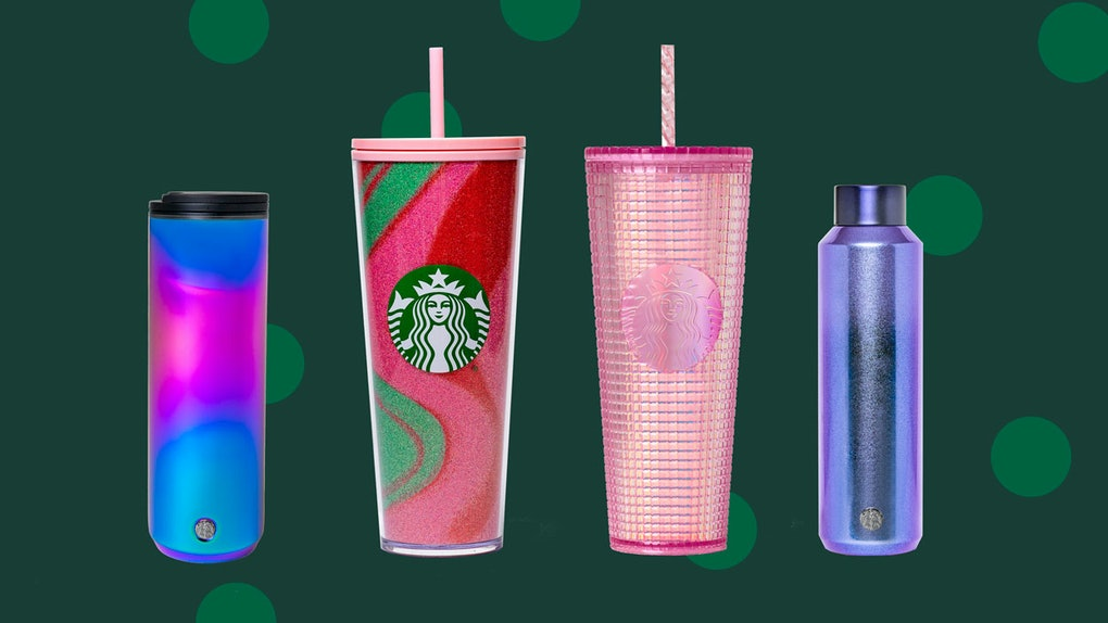 Starbucks' Holiday 2020 tumblers and cold cups feature some sparkly details.