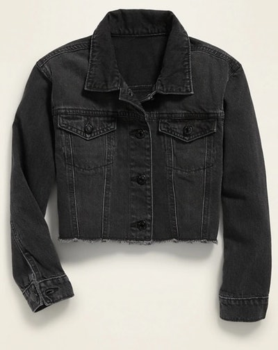 POPSUGAR x Old Navy Cropped Black-Wash Jean Jacket
