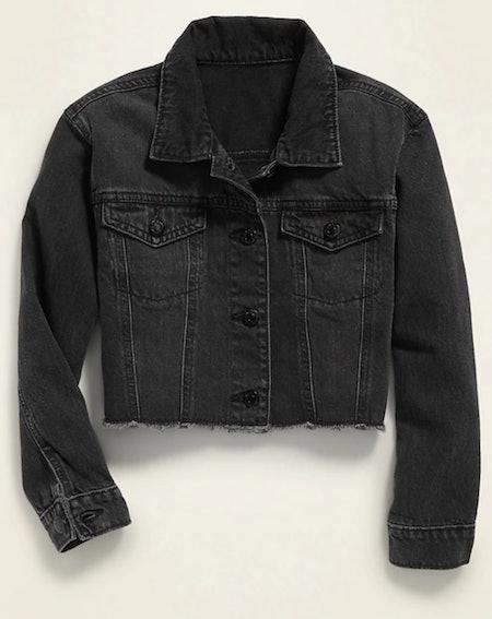 POPSUGAR x Old Navy Cropped Black-Wash Jean Jacket
