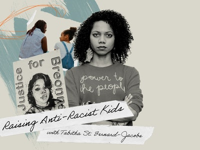The author Tabitha St Bernard -Jacobs, in an illustration with a poster of Breonna Taylor and a photo of a Black mom and child. Text reads: Raising Anti-Racist Kids with Tabitha St Bernard -Jacobs.