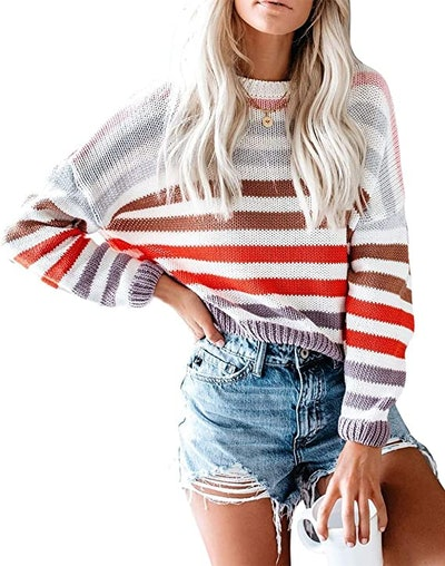 Cordat Color Block Striped Sweater