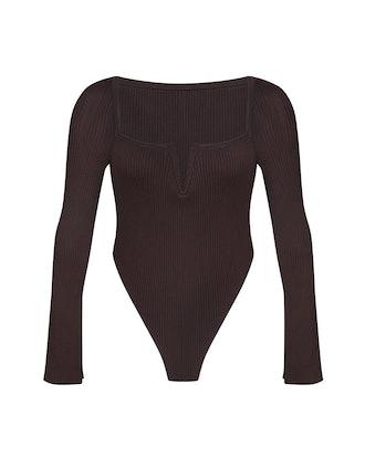 V-Neck Knitted Bodysuit
