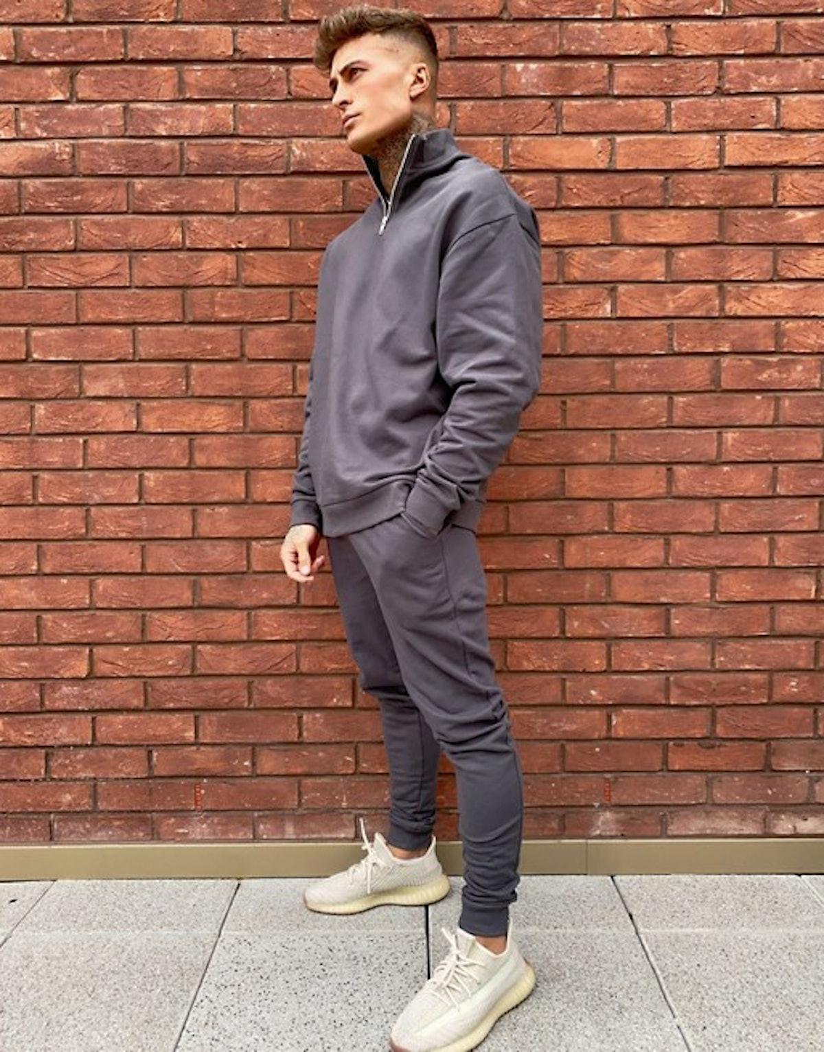 ASOS Design Oversized Tracksuit With Half Zip Sweatshirt In Washed Black