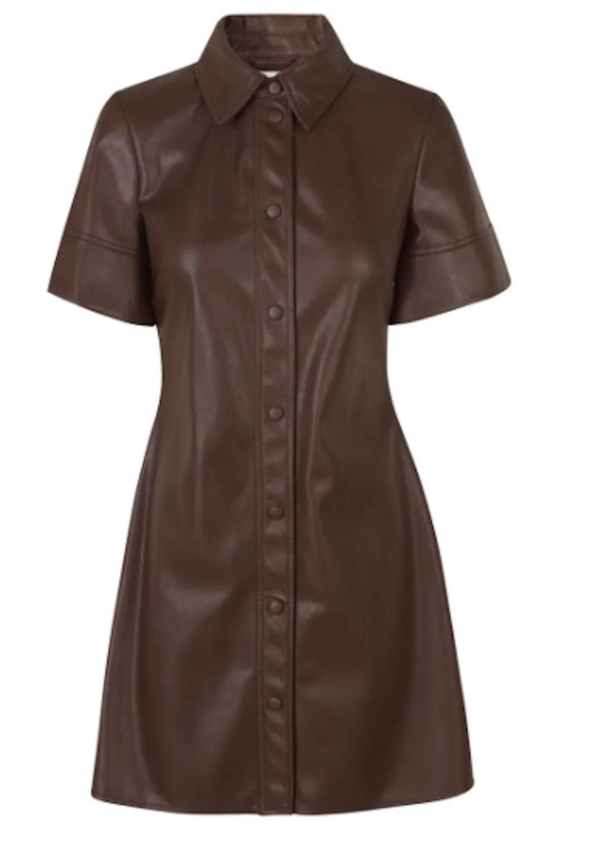 Short Sleeve Faux Leather Shirtdress