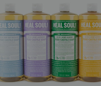 Line of Dr. Bronner's soaps with Heal Soul! label