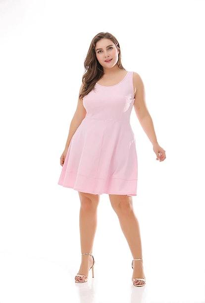 Blooms Boom High Waist Sleeveless Skater Dress Plus Size Tank Dress