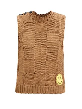 Sleeveless Basketweave Cotton-Blend Sweater