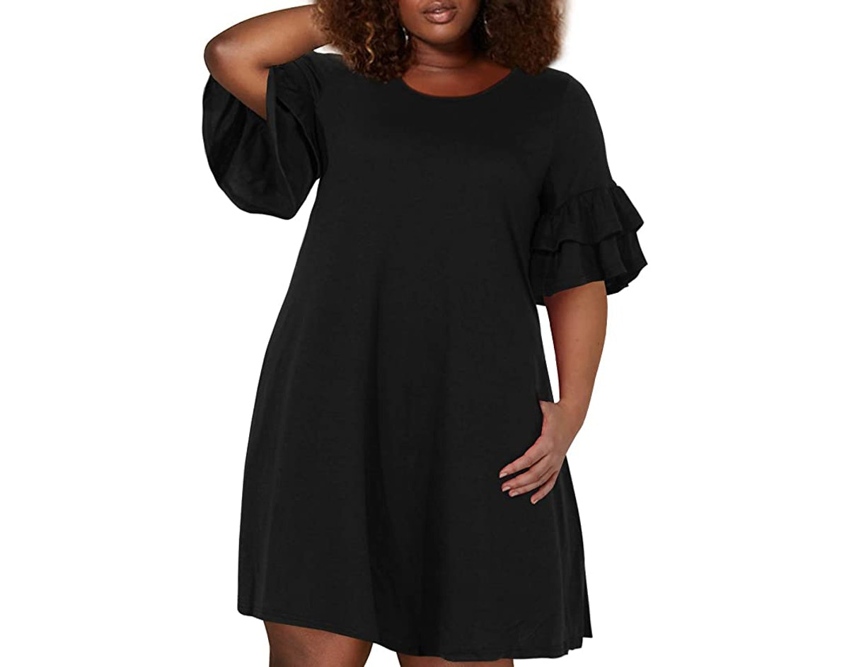 Nemidor Women's Ruffle Sleeve Swing Dress With Pocket