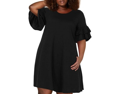 Nemidor Women's Ruffle Sleeve Swing Dress With Pocket