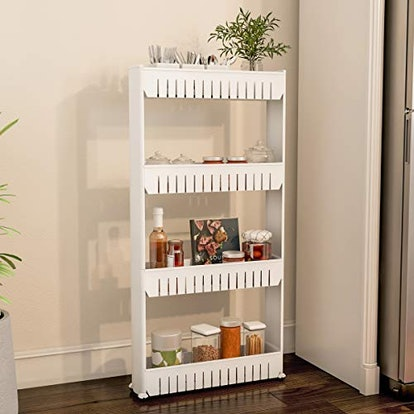 Mobile Shelving Unit Organizer with 4 Large Storage Baskets,