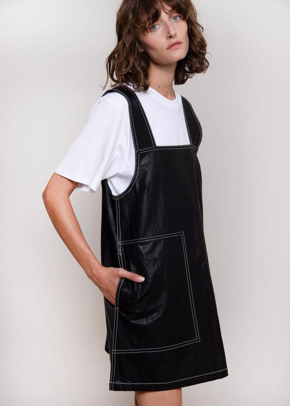 Vegan Leather Top Stitched Mini Dress