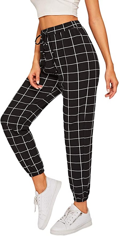 SweatyRocks Tie High Waist Striped Plaid Pants