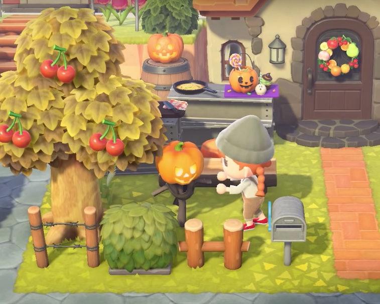 An Animal Crossing character is seen tending to her pumpkin in the garden.
