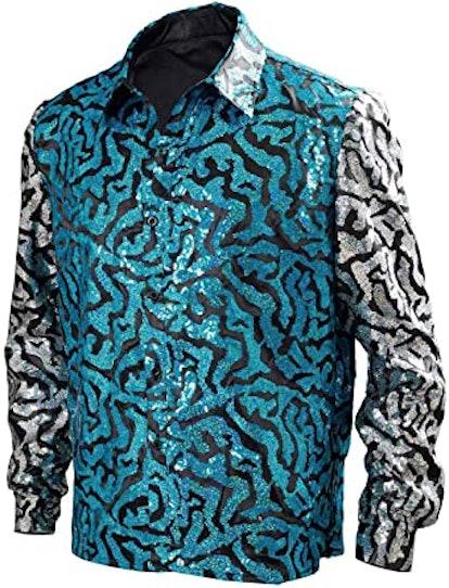 LILLIWEEN Mens Tiger King Shirt Joe Exotic Shiny Sequins Button Down Dress Shirt