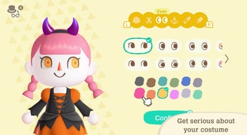 An Animal Crossing character with Halloween-relevant customize options for eye color and more.