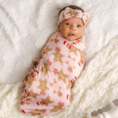 Pink Gingerbread Bamboo Viscose Swaddle + Headband Set