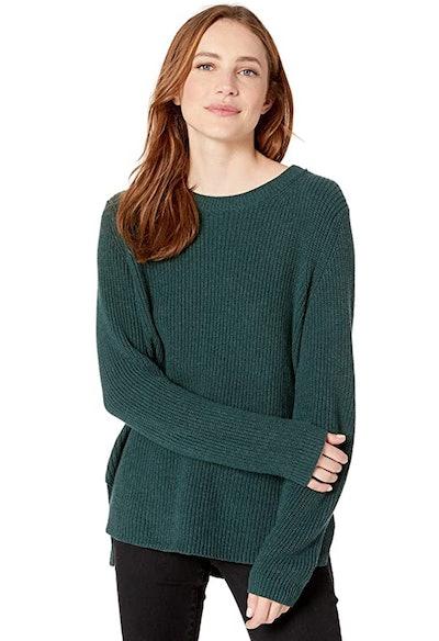 Goodthreads Women's Cotton Shaker Stitch Crewneck Sweater