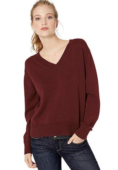 Daily Ritual 100% Cotton V-Neck Pullover Sweater