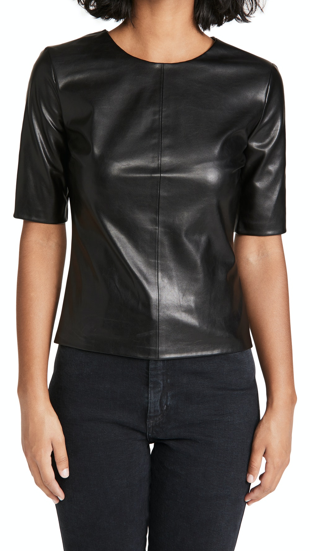 Vegan Leather Crew Top