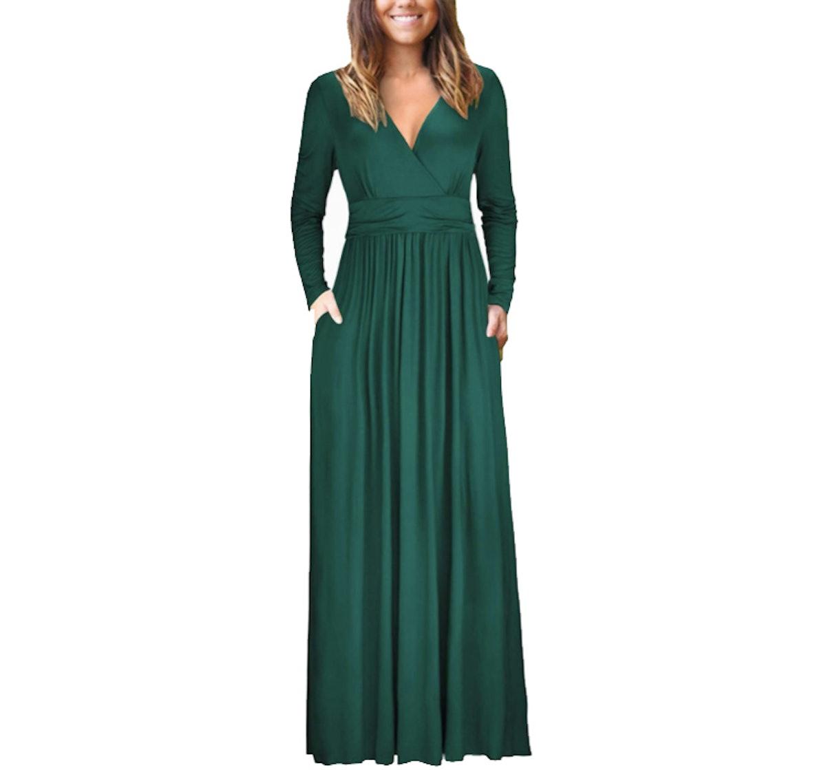 OUGES Womens Long Sleeve Maxi Dress