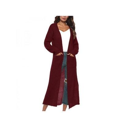 BODYJONES Women's Full Length Maxi Cardigan Duster Long Sleeve Open Front Sweater Coat