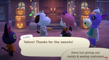 Animal Crossing characters in Halloween costumes.