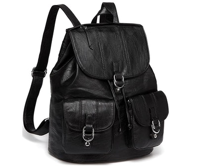 VASCHY Fashion Faux Leather Buckle Flap Drawstring Backpack