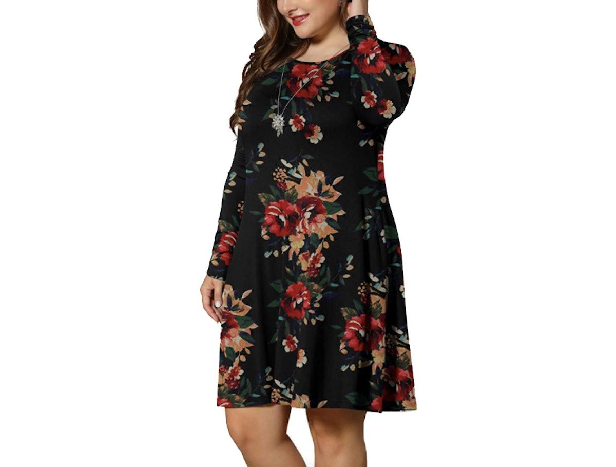 LONGYUAN Casual T-Shirt Dress With Pockets