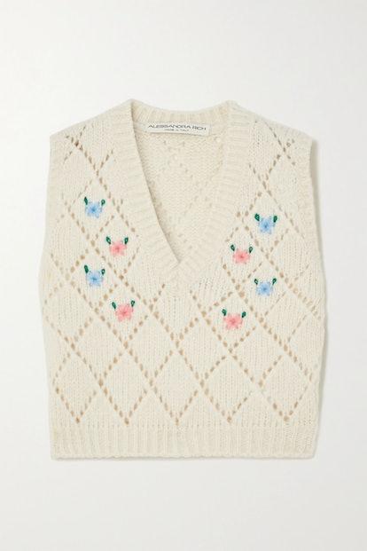 Embroidered Pointelle-Knit Alpaca-Blend Vest